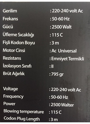Vega 2500W Saç Kurutma Makinesi Siyah